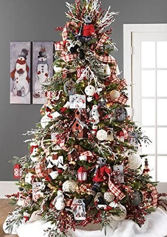 Raz Imports Graphic Woodland 10 Snowman Christmas Tree Ornaments Set Of 4 Christmas Tree Themes Farmhouse Christmas Tree Christmas Tree Design