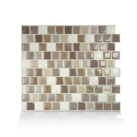 Smart Tiles 4 Pack White Gray Silver 9 In X 10 In Composite Vinyl Peel And Stick Tile Commo Smart Tiles Self Adhesive Wall Tiles Mosaic Wall Tiles