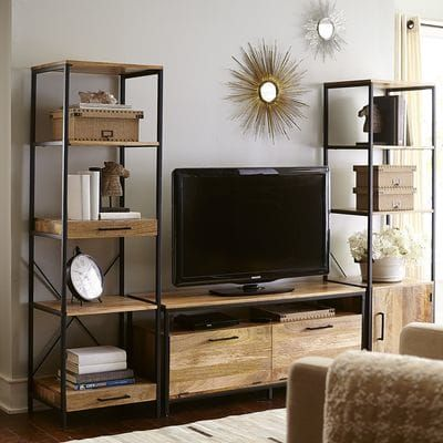 Named For The Hindi Word Meaning Strength Our Takat Tv Stand Makes A Strong Statement Indeed Built Living Room Tv Stand Living Room Tv Living Room Tv Wall