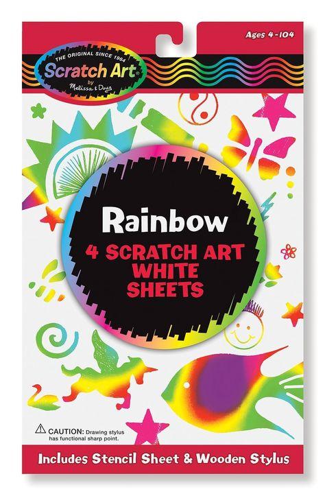 Wooden Stylus 4 Boards Stencil Sheet Melissa /& Doug Scratch Art Activity Kit: Rainbow