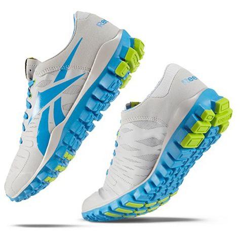 Reebok Women's RealFlex Fusion TR Style #: J93846 Zinc Grey Modern Blue Charged Green Minimalist Shoe