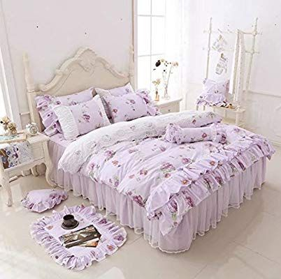 LELVA Girls Bedding Set Lace Ruffle Duvet Cover Sets with Bed Skirt Princess