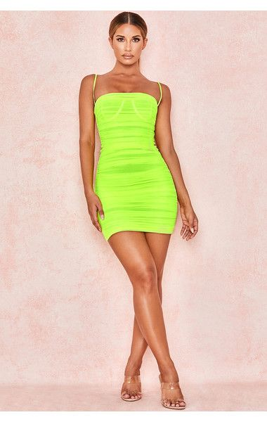 Clothing Bodycon Dresses Ella Neon Green Ruched Organza Mesh Mini Dress Mini Dress Neon Dresses Cute Dress Outfits