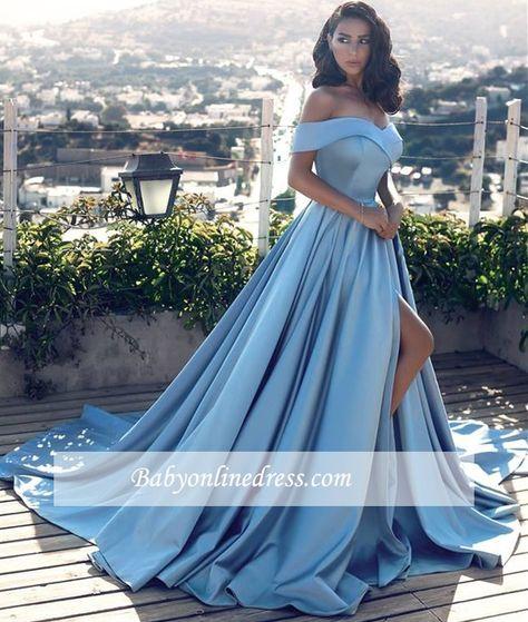 Fashion Blau Abendkleider Lang Günstig Schulterfrei ...