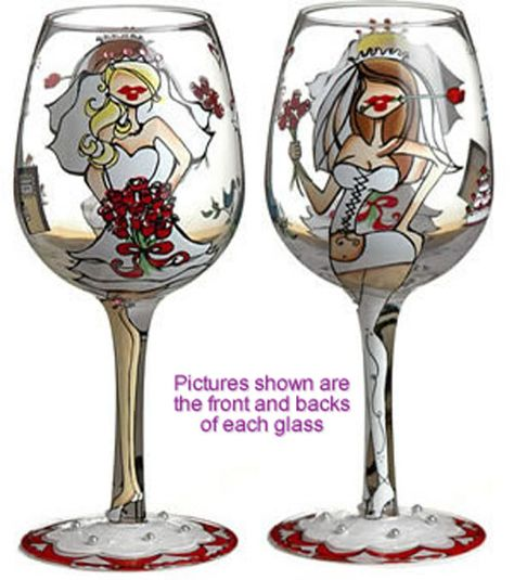 """""""Bride To Be"""" Hand Painted Wine Glasses"""
