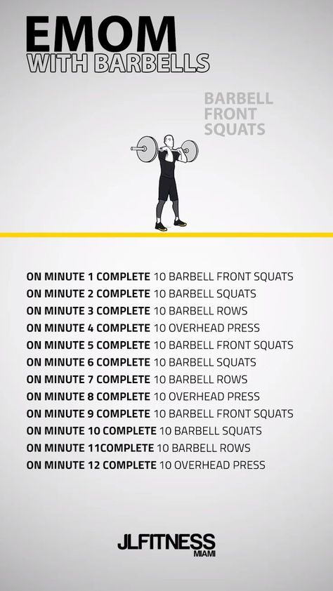 crossfit workouts at home 12 Minute EMOM With Barbells Pilates Workout Videos, Workout Videos For Men, Workout Hiit, Band Workout, Yoga Pilates, Cardio Training, Weight Training Workouts, Workout Diary, Workout Plans