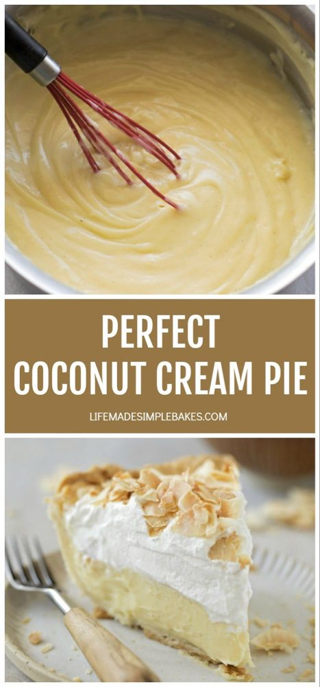 This perfect coconut cream pie is made completely from scratch. It's cool and creamy with whipped cream and toasted coconut on top. Coconut Recipes, Baking Recipes, Nutella Recipes, Vegan Recipes, Pie Dessert, Dessert Recipes, Cream Pie Recipes, Homemade Pie, Homemade Breads