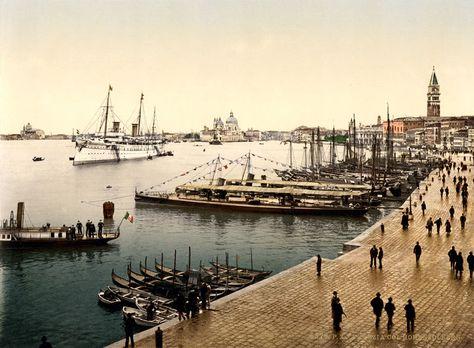 The Royal Yacht Hohenzollern in Venice, Italy, ca. 1896