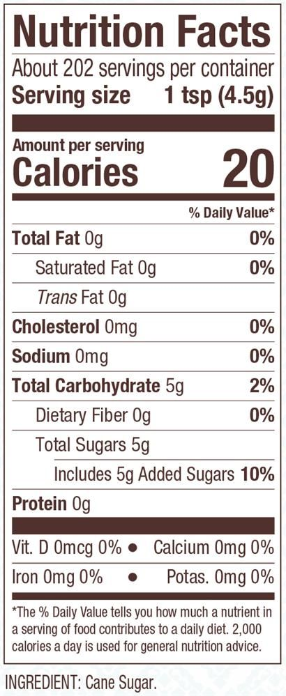 Nutrition Facts Bob S Red Mill Fine Crystals Cane Sugar Ingredient Cane Sugar Fine Golden Crysta Nutrition Facts Label Nutrition World Nutrition Facts