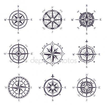 Rosa dos ventos ou velha, vintage ícones heráldicos da bússola