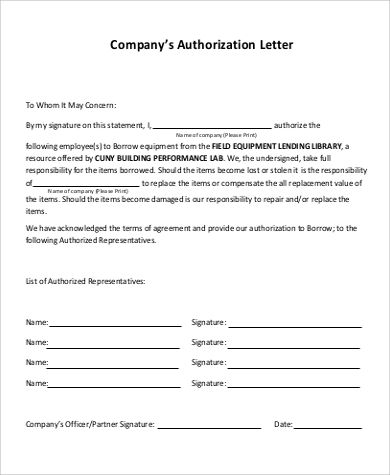 sample company authorization letter pics photos format for vehicle - letter of authorization