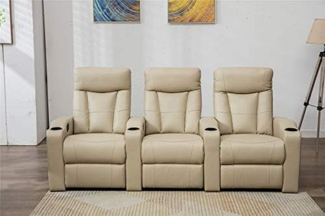 Mecor Home Theater Seating Three Seat Reclining Sofa Detachable