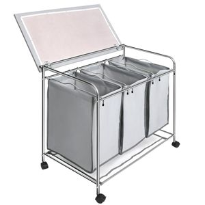 3 Compartment Laundry Cart Basket Trolley With Iron Board With