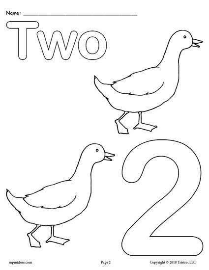 Free Printable Number 2 Animal Coloring Page Number Coloring Worksheets Like This Are Great Fo Preschool Coloring Pages Numbers Kindergarten Numbers Preschool