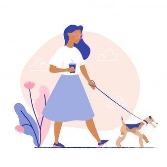 Woman Walking The Dog. Flat Vector Illustration.