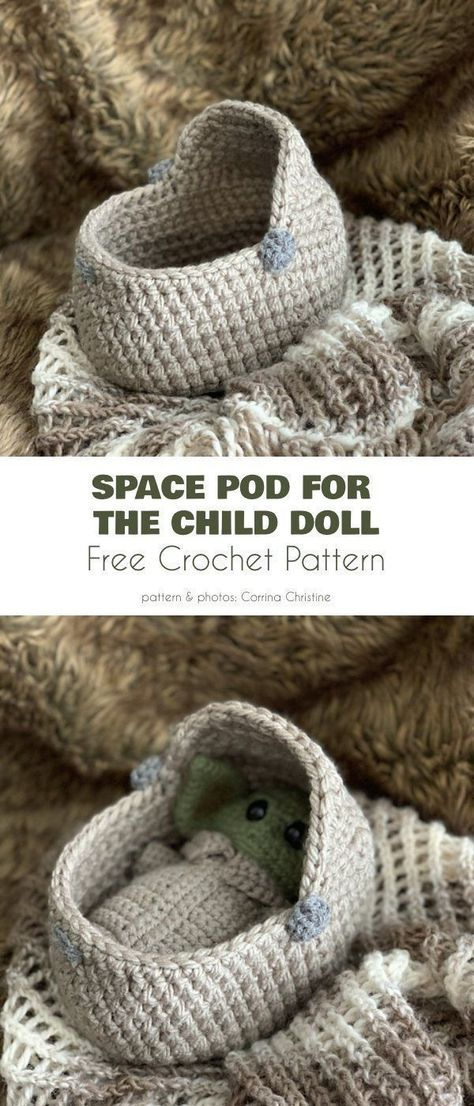 Space Pod Baby Yoda Free Crochet Pattern Baby Yoda, the Christmas is strong in t...