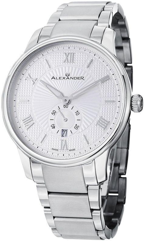 Amazon.com: Alexander Statesman Regalia Wrist Watch For Men - Silver White Dial Date Small Seconds Analog Swiss Watch - Stainless Steel Bracelet Watch - Mens Designer Watch A102B-01: Alexander: Watches