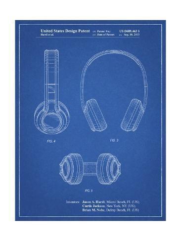 Pp596 Blueprint Bluetooth Headphones Patent Poster Giclee Print Cole Borders Art Com Blueprints Giclee Print Custom Frame Shop