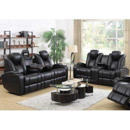 Simple Relax 1perfectchoice Delange Motion Recliner Power Sofa Loveseat Set Storage Armrest Black L Living Room Leather Sofa And Loveseat Set Black Living Room