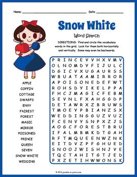 Snow White Word Search Worksheet | TpT Language Arts Lessons