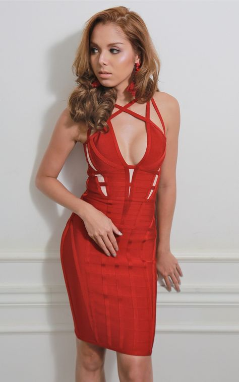 b607de4df700 Isabella Bandage Red Strappy Dress in 2019 | Sexy Red Bandage ...