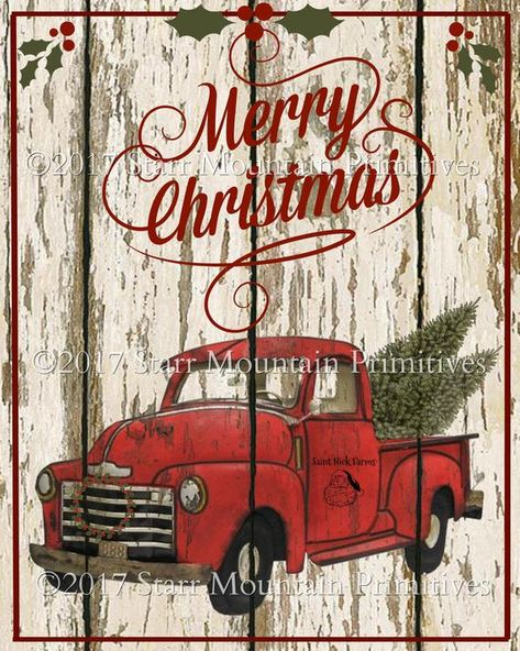 Home for The Holidays Vintage Red Farm Pickup Truck Wood Pallet Sign 6 Inch Square Stand or Hang