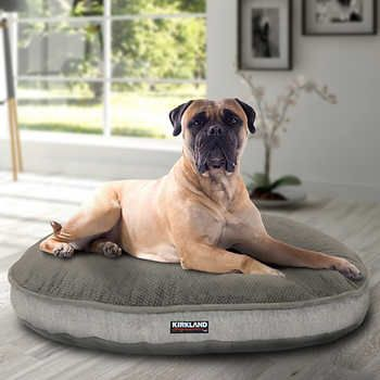 Kirkland Signature 42 Round Pet Bed Tan Textured Faux Suede Round Dog Bed Luxury Pet Beds Luxury Pet