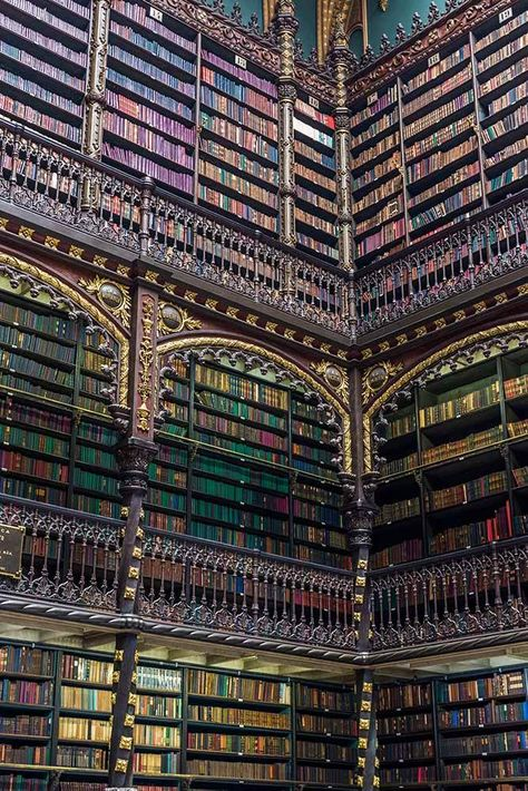 Real Gabinete library in Rio de Janeiro Brazil. Indulge your literary lust with this tour of the most beautiful libraries in the world. This list includes old and ancient libraries, modern architecture and rows and rows of beautiful bookshelves. World Library, City Library, Dream Library, Library Design, Modern Library, Library Art, Vintage Library, Vintage Books, Serpentine Gallery Pavilion