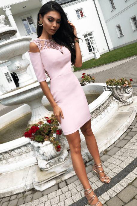 Khloe Pudrowy Roz Olowkowa Wieczorowa Sukienka Na Wesele Klasyczna Sukienka Odkryte Plecy Krotki Rekaw Wyjatkowa Wysoka Ja Bodycon Dress Dresses Fashion