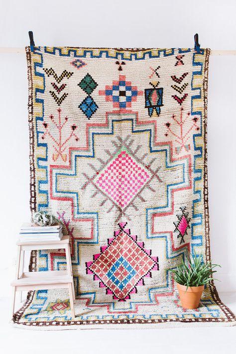 "Vintage Moroccan Boucherouite Ourika Rug, ""The Imogen"", Colorful Rug, Bohemian, Pink Rug, Tribal, Boho, Berber Rug"