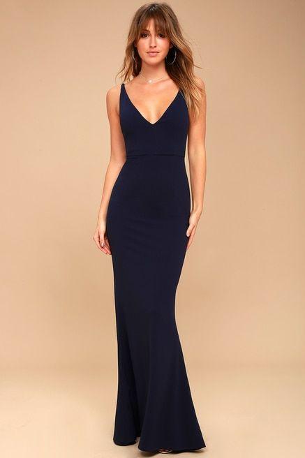 13afa05186 Melora Navy Blue Sleeveless Maxi Dress