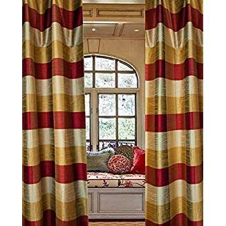 Buffalo 3 Toned Checkered Faux Silk Curtain Panel 52 W X 84 L Curtains Drapes Curtains Faux Silk Curtains