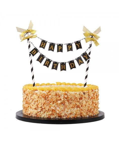 Amazing Black Mini Happy Birthday Banner Cake Topper Party Cake Decoration Funny Birthday Cards Online Ioscodamsfinfo