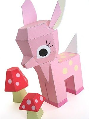 Cute Craft Tutorials, Handmade Toys, Printable Crafts, Kawaii Plush by Fantastic Toys: Free Printable Pink Paper Fawn