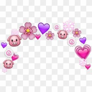 Cute Heart Pink Head Pig Crown Hd Png Download Pink Heart Emoji Cartoon Heart Heart Clip Art