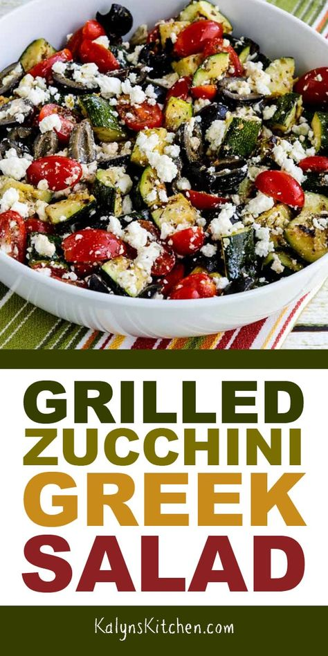 In this delicious Grilled Zucchini Greek Salad grilled zucchini replaces the cuc. - In this delicious Grilled Zucchini Greek Salad grilled zucchini replaces the cucumber for a tasty l - Whole Food Recipes, Cooking Recipes, Cooking Tips, Vegetarian Recipes, Healthy Recipes, Healthy Meals, Keto Recipes, Vegetarian Options, Pork Recipes