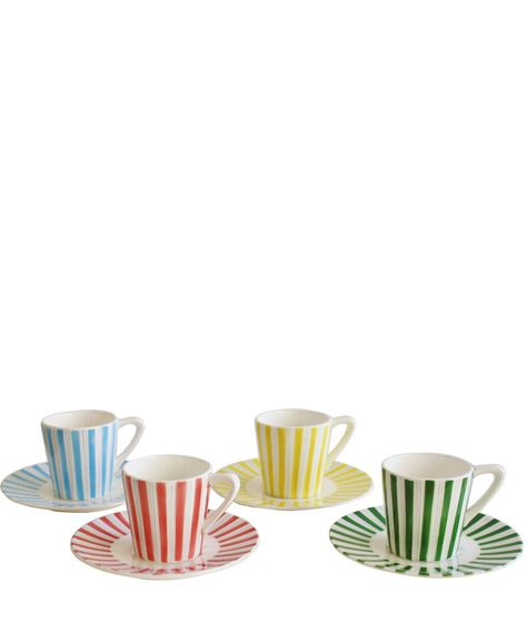 Vintage Porcelain Stripe Tea Cups & Saucers