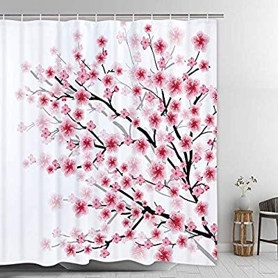 Amazon Com Modern Timesm Cherry Blossoms Shower Curtain Flowering Cherry Shower Curtain With 12 Hooks Japanese Cherry Tree Shower Curta Tree Shower Curtains