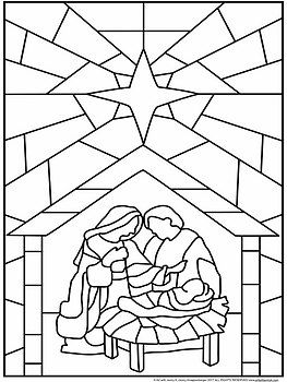 Holy Family Stained Glass Nativity Coloring Pages Nativity Coloring Christmas Coloring Pages