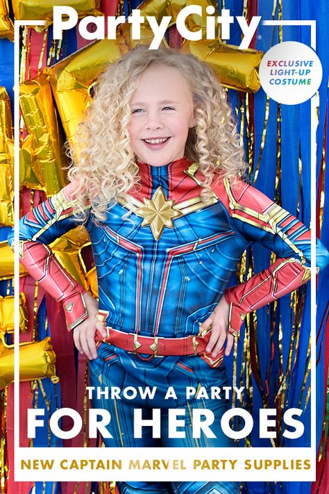 Shop Captain Marvel Birthday Party Supplies Available Now At Party City Marvel Party Marvel Birthday Party Superhero Birthday Party