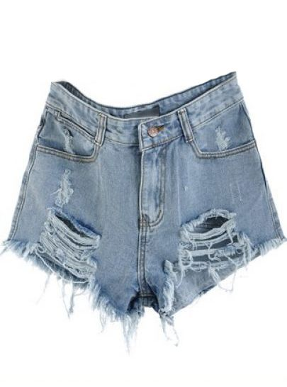 Shop Blue Mid Waist Ripped Denim Short online. SheIn offers Blue Mid Waist Ripped Denim Short & more to fit your fashionable needs.