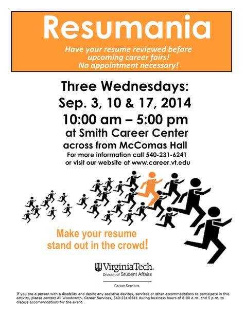 Polish your resume at Resumania Wednesdays with Career Services - virginia tech resume