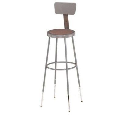 2pk Adjustable Heavy Duty Steel Stool With Backrest Gray Hampton Collection Adult Unisex Adjustable Stool Stool Public Seating
