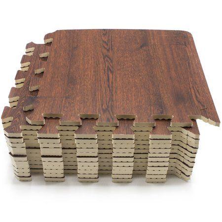 Sorbus Wood Grain Floor Mats Foam Interlocking Mats Each Tile 3 8 Inch Thick Flooring Wood Mat Tiles Home Office Playroom Basement Trade Show 16 Tiles 16 Sq Foam Floor Tiles Interlocking