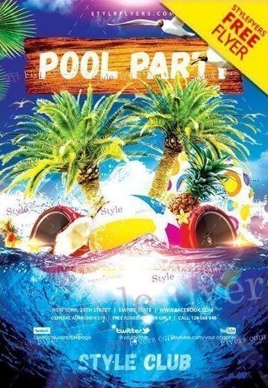Pool Party Free Psd Flyer Template Free Psd Flyer Disenos De Unas