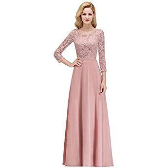 Misshow Rosa Abendkleider Ballkleid Lang Kleid Altrosa Festliche Kleider Fur Damen Abendkleid Brautjungfern Kleider Kleid Altrosa