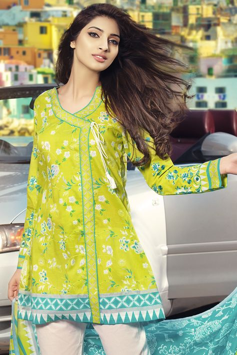Gul Ahmed 2017 Summer Collection Parrot Green 3 Pc Embroidered Lawn Dress B