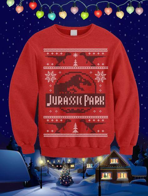 Jurassic Park Dino Christmas Xmas34 Unisex Red Xmas Jumper Sweater