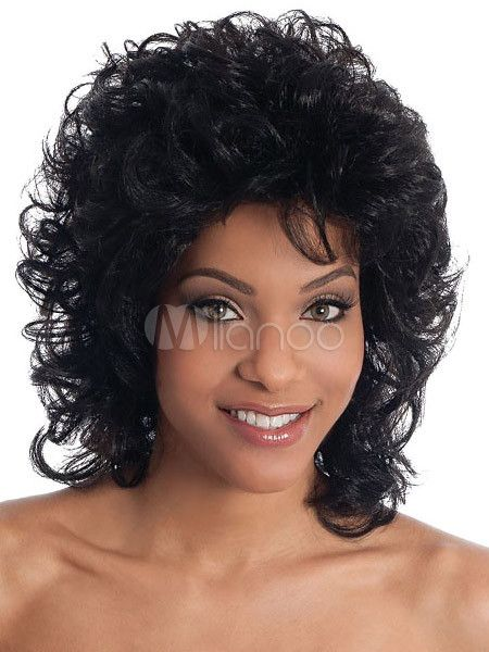 Perruque Moyenne Noire Synthetique Frisee Perruque Boucler Ses Cheveux Naturellement Perruques Afro