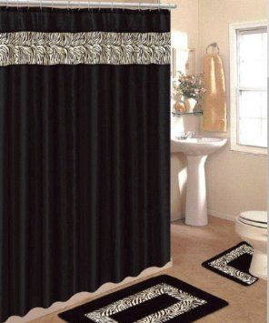 Amazon Com 4 Piece Bath Rug Set 3 Piece Black Zebra Bathroom Rugs With Fabric Shower Curtain And Matching Rings Home K Zebra Bathroom Black Shower Curtains